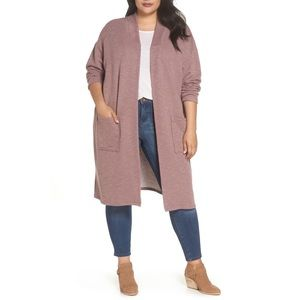 NWT Bobeau Cozy Long Cardigan Mauve Latte Plus